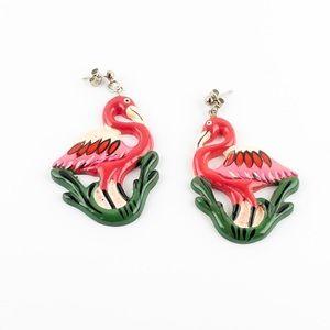 Vintage Pink Flamingo Dangle Resin Earrings